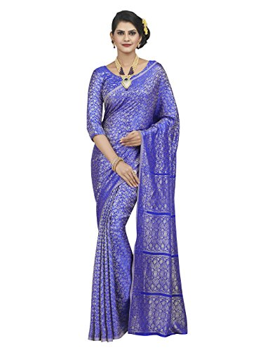 Shonaya-Blue-Colour-Polyester-Silk-Saree-With-Unstitched-Blouse-PieceFree-Size