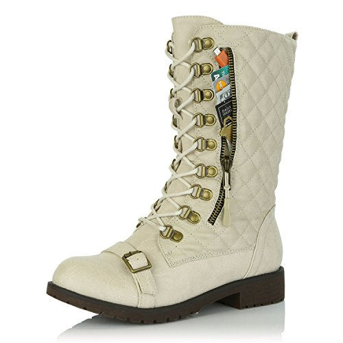 DailyShoes Women's Lace up Buckle Combat Mid Ankle Pocket Buckle Strap Boots Ivory Pu