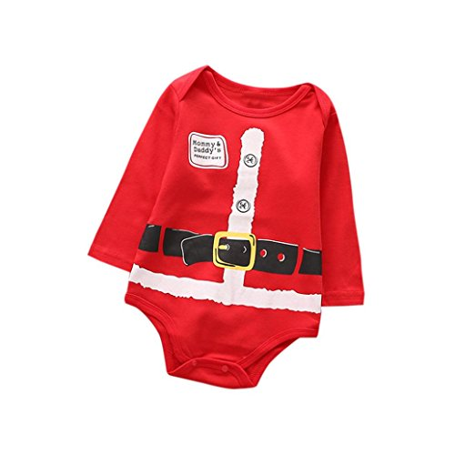2018Christmas Clothes,Elevin(TM)Toddler Kids Girls Boys Printing Romper Jumpsuit Pajamas Outfits (24M, Red) ()