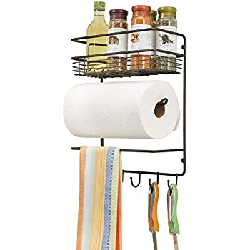 mDesign Metal Wall Mount Paper Towel Holder with Storage Shelf and Hooks for Kitchen, Pantry, Laundry, Garage Organization - Holds Spices, Seasonings, Pot Holders, Cookware - Bronze