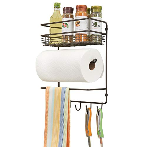 - mDesign Metal Wall Mount Paper Towel Holder with Storage Shelf and Hooks for Kitchen, Pantry, Laundry, Garage Organization - Holds Spices, Seasonings, Pot Holders, Cookware - Bronze