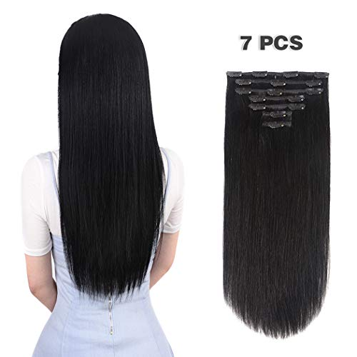 12 inches Clip in Hair Extensions Remy Human Hair - 70g 7pcs 16 Clips Straight Thick 100% Real Human Hair Extensions for Women Jet Black #1 Color