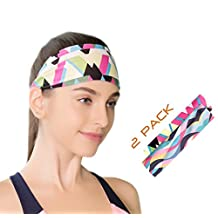 Yoga Headbands for Women 2 Pack- Wide Non Slip Design for Running Workout and Fitness