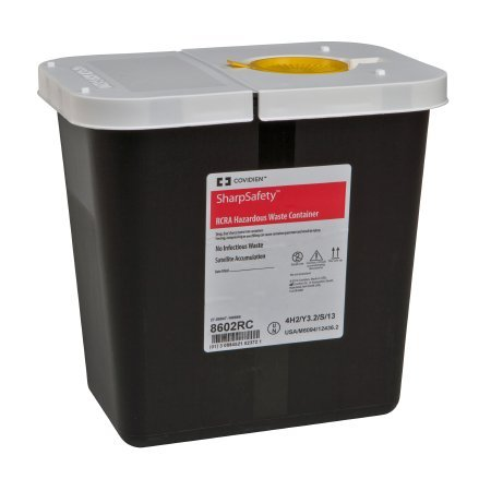Covidien 8602RC SharpSafety RCRA Hazardous Waste Container Hinged Lid with Snap Cap, 2 gal Capacity, Black (Pack of 20)