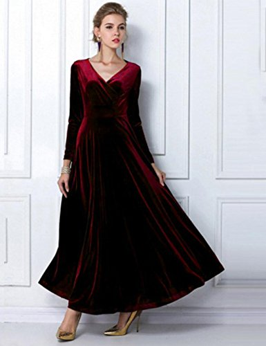 Long Neck Party Casual Dress Velvet Sleeve Wrap Long Plus Evening Bulges Red V Women Stretchy Wine Size wxv8UnXOq