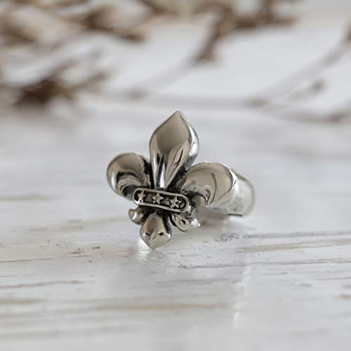 Cross Sterling French Silver (sterling Fleur De Lis CROSS RING GOTHIC SILVER KNIGHT royal punk French Biker uk)