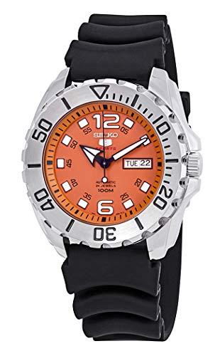 Seiko Men's Seiko 5 44mm Black Silicone Band Steel Case Automatic Orange Dial Analog Watch SRPB39K1 ()