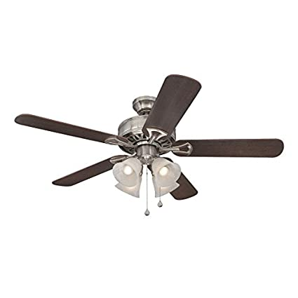 Harbor breeze springfield ii 52 in brushed nickel downrod or close harbor breeze springfield ii 52 in brushed nickel downrod or close mount indoor ceiling fan with light kit amazon aloadofball Choice Image