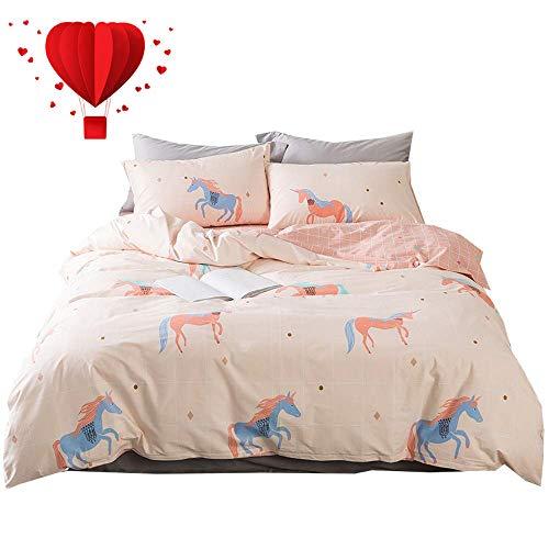BuLuTu Unicorn Girls Duvet Cover Sets Queen Cotton 3 Pieces Kids Bedding Sets Full Pink Teens Zipper Closure,Love Gifts for Her,Daughter,Toddler,Sister,Friend,No Comforter,90x90 ()