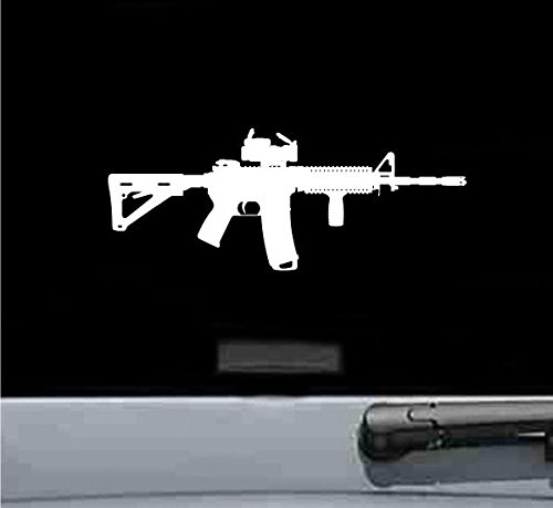 JS Artworks Ar15 M4 Rifle with Sight Scope Silhouette Vinyl Decal Sticker