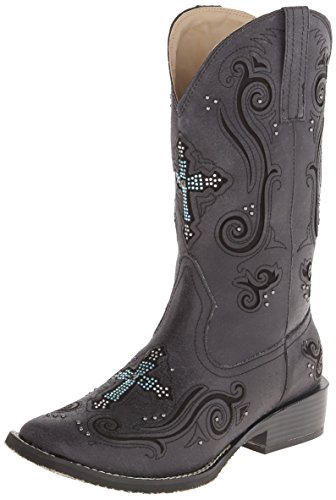 ROPER Women's Crystal Cross Square Toe Boot, Black, 5 M