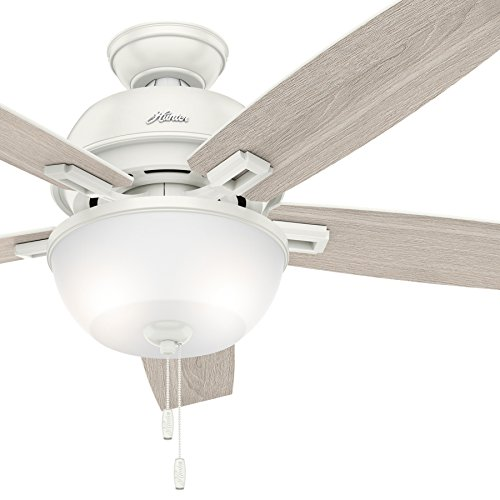 Hunter Fan 52 inch Casual Ceiling Fan with Light and LED bulbs in Fresh White (Certified Refurbished)