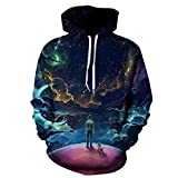 MODOQO Pullover Hoodies for Women Long Sleeve Loose Tops Sweatshirts Jumper Hooded 3D Print with Pocket Autumn Winter Warm