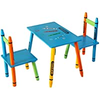 Bebe Style Childrens Wooden Crayon Themed Table and Chair Set, Easy to assemble no tools required
