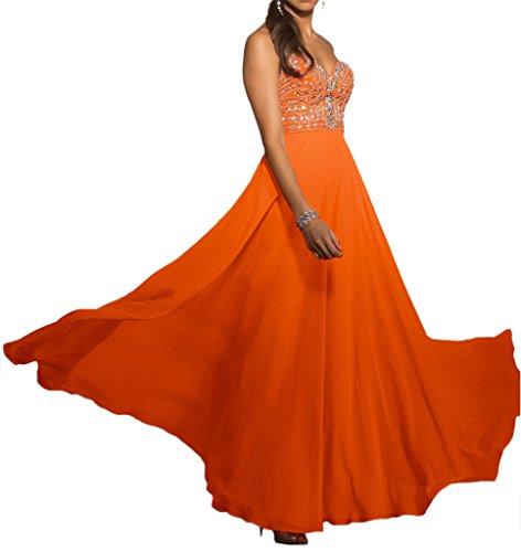Lamia Braut Pink Orange Steine Herzausschnitt Chiffon Abendkleider ...