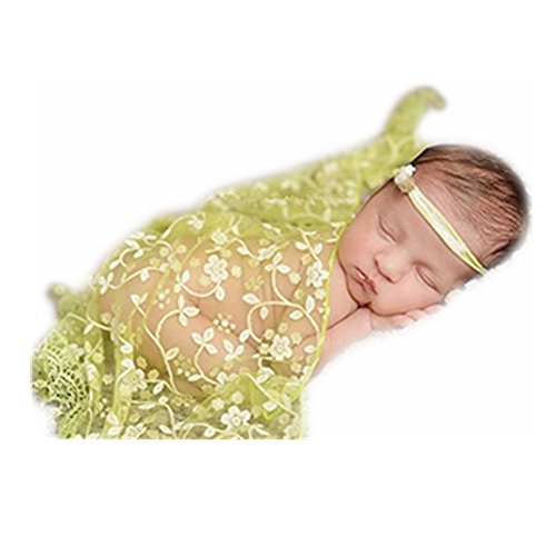 Newborn Boy Girl Photography Props Newborn Wraps Baby Photo Shoot Outfits Wrap Lace Yarn Cloth Blanket (Green)