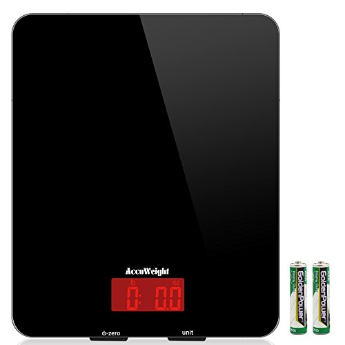 Accuweight Digital Multifunction Food Meat Scale with LCD Display Perfect for Baking (Glass Kitchen Scale)