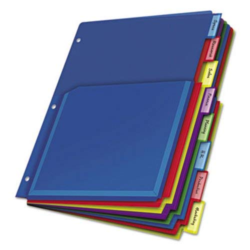 Cardinal 84013 Poly Expanding Pocket Index Dividers, 8-Tab, Letter, Multicolor, per Pack