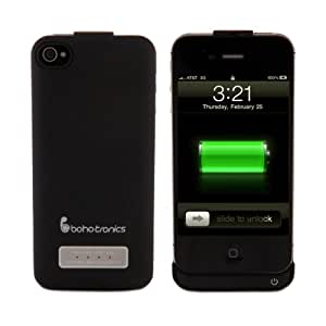 Boho Tronics TM External Battery Case Cover Charger - Ultra Slim Portable Power Pack Case for Extra Battery Juice - Compatible with Apple iPhone 4 iPhone 4S AT&T, Sprint, Verizon - Black