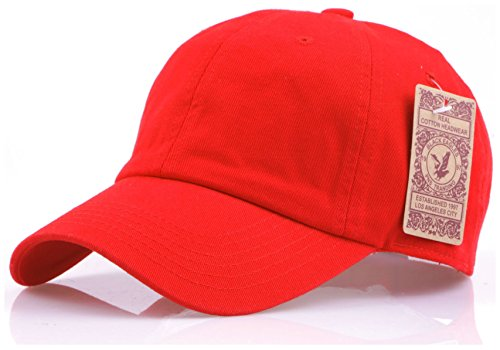 (RufnTop Black Eagles 100% Cotton and Denim Washed Classic Dad Hat Plain Dyed Low Profile Baseball Cap(Red)