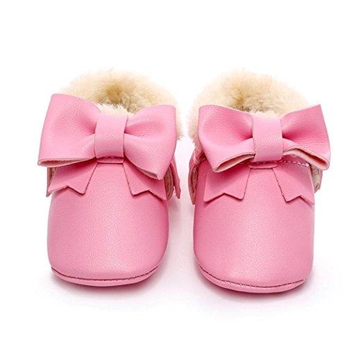Binmer(TM) Baby Bowknot Soft Sole Snow Boots Soft Crib Cotton Shoes Toddler Boots (12~18 Month, Pink)