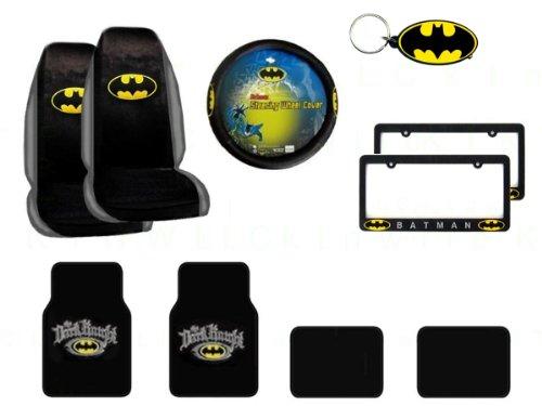 MULTI_B A Set of 10 Piece Batman Automotive Gif Set: 2 Seat Covers, 4 Floor Mats, 1 Key Fob, 1 Wheel Cover and 2 License Frames - Batman