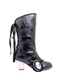 H-CLARA Steampunk victorian ankle boots with 2 bronze vintage heel 11 / Black