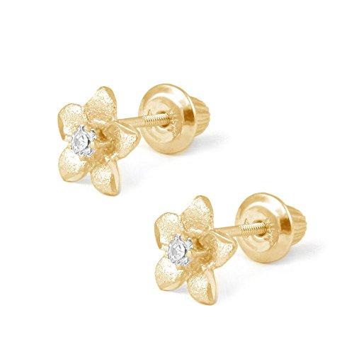 14K Yellow Gold Plumeria Flower Diamond Screw Back Earrings For Girls by Loveivy
