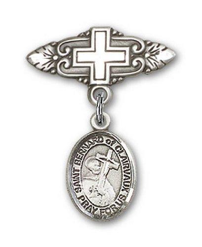 Icecarats Créatrice De Bijoux En Argent Sterling St. Bernard De La Broche De Badge Charme Clairvaux Avec Croix 1 X 3/4