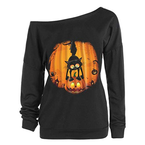 Women Halloween Costume Pumpkin Devil Sweatshirt Oblique Off Shoulder Top Shirt(E,Medium)