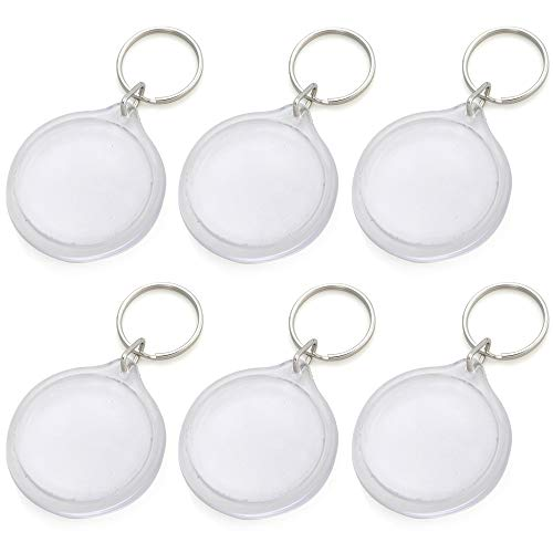 GOGO 25 PCS Acrylic Photo Keychains, 1-3/4 Inch Round Shape, Perfect for Number Tag ()