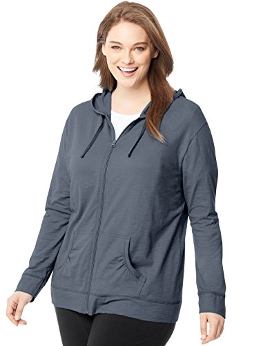 My Just 5 Size Pocket (Just My Size Women's Plus Size Full-Zip Hoodie, DADA Gray PE Heather, 32)