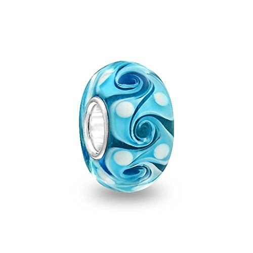 (Turquoise Swirl Murano Glass Charm 925 Sterling Silver Bead Fit European Brand Charms)
