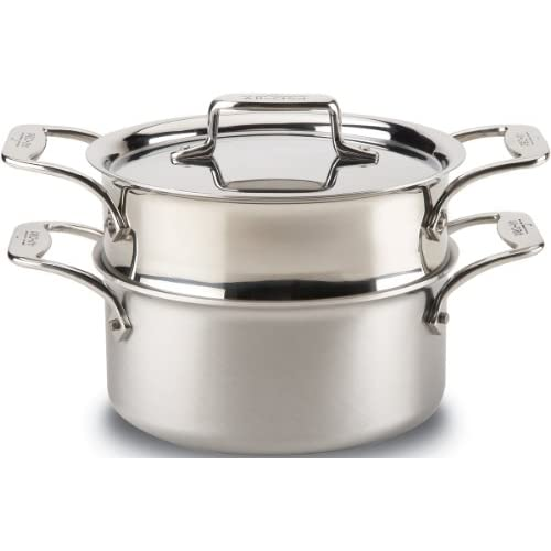 All-Clad BD55303 D5 Brushed 18/10 Stainless Steel 5-Ply Bonded Dishwasher Safe Casserole with Lid and Steamer Cookware, 3-Quart, Silver