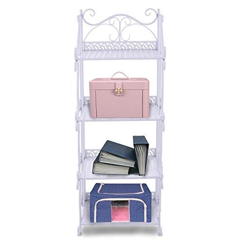 Utheing 4-Tier Metal Standing Storage Display Shelves, Folding Art Corner Home Bookshelf Plant Stand Rack (White) (Scrollwork Shelf Corner White)