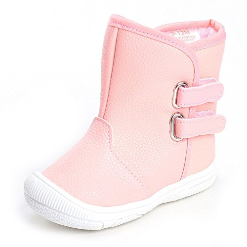 Kuner Baby Girls Pu Leather Faux Fleece Rubber Soles Outdoor Warm Snow Boots (13.5cm(12-18months), Pink)