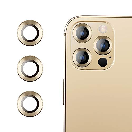 RIWNNI Kamera Panzerglas Schutzfolie Kompatibel mit iPhone 12 Pro Max [3 Stück], 9H Härte Anti-Kratzer Panzerglasfolie HD Klar Kameraschutz Linse Glas Folie für iPhone 12 Pro Max - Gold