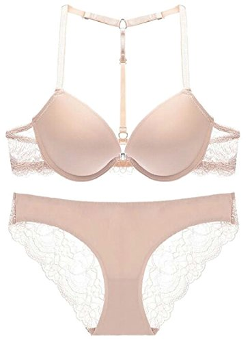 XQS Women's Lace 2 Pieces Lingerie Front Close Seamless Bra and Panties Set 1 34B