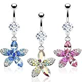 Best Crystal CZs - PINK Crystal Plumeria Flower Dangle Belly Button / Review