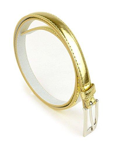 Belle Donne - Women's Leather Skinny Hip or Waist Dress Belt -Gold-XL (Chain Belt Jean)