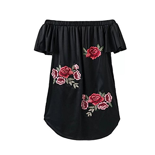 Bordado XINGMU Vestido Negro Mini Mujeres Rosa Visten w8S8Tgq0