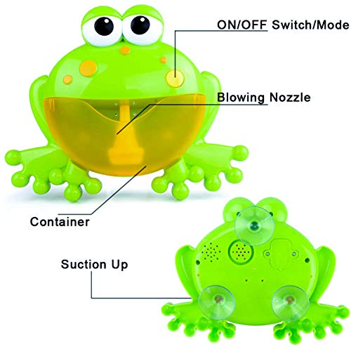 PBOX Frog Baby Bath Toy,Bubble Toy Musical Toy Bubble Maker with Nursery Rhyme Bathtub Bubble Toys for Infant Baby Children Kids Happy Tub Time,Bubble Machine for Boys and Girls Aged 1 2 3 4 (A) by PBOX (Image #2)