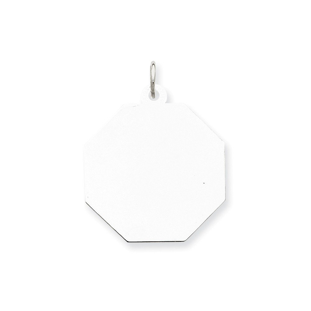 16-20 Mireval Sterling Silver Engravable Octagon Disc Charm on a Sterling Silver Chain Necklace