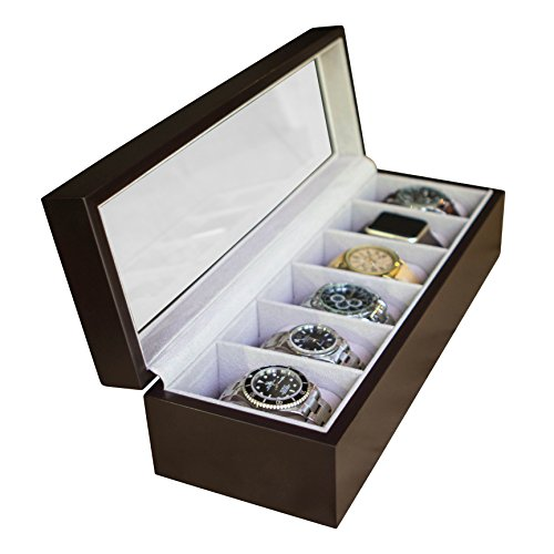 Watch Display Case - Solid Espresso Wood Watch Box Organizer with Glass Display Top by caseElegance