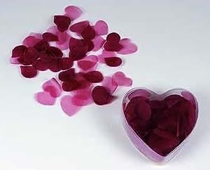 Set di 200 petali color rosso bordeaux in confezione trasparente a forma di cuore. Utilizzabile per bomboniere e composizioni.
