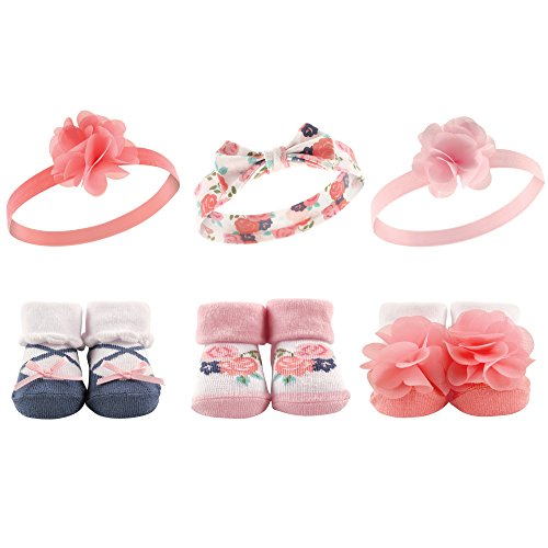 Baby Socks Flowers - Hudson Baby Baby Girls' Headband and Socks Set, 6 Piece, Floral Ballet, 0-9 Months