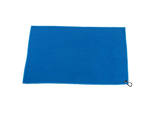 Microfiber Deep Waffle Weave Golf Towel 2 pack,Light Weight & Quick Drying. Best for Cleaning all types of Clubs, Irons & Drivers.(Blue & Gray 16''x21'') by DVlente (Image #1)