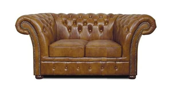 Casa-Padrino Chesterfield sofá Genuino Cuero 2 plazas marrón ...