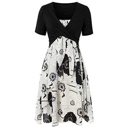 - TUSANG Women Long Skirt Fashion Short Sleeve Bow Knot Bandage Top Floral Print Mini Summer Comfy Casual Dress Suits (Black,US-8/CN-L)