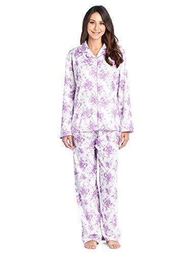 (Casual Nights Women's Long Sleeve Notch Collar Floral Pajama Set - Light Purple - XXX-Large)